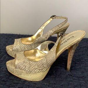 Bebe Beige Gold Snakeskin Open Toe Slingback Heels